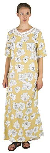 Sakkas 18207 - Maha Soft Damen Kurzarm Nachthemd Schlaf Kleid Atmungsaktiv No Bunch Up - Camel-floral - M (Maxi Kleider Bescheiden)