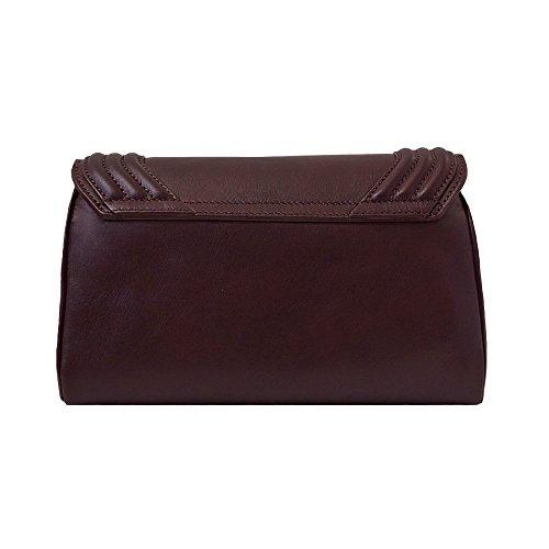 """BORGENNI borsa da donna tipo pochette a tracolla pochette piccola in vera pelle con tracolla, """"La Sei"""" Bordeaux"""