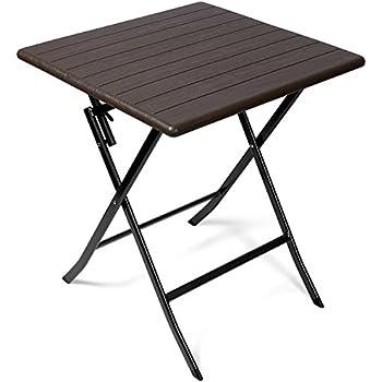 Vanage - Table d\'appoint - Table de Jardin carrée avec Effets bois -  Structure en acier - Pliable et ultra compacte - Parfait pour Jardin,  Terrasse ...