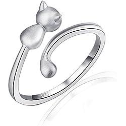 Plata de Ley 9250,6pulgadas ajustable de nudillos anillo pequeño diseño de gato sobre Mid dedo Top dedo anillo pulgar Anillo abierto mujeres anillos joyería