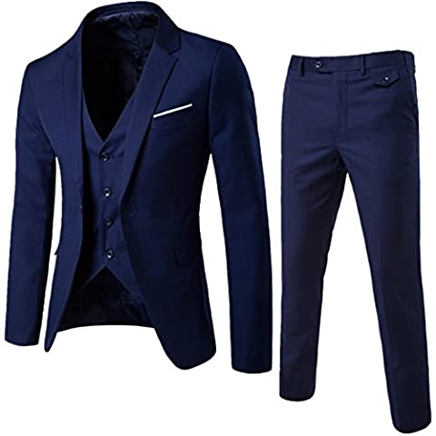 Herren Anzug Slim Fit 3 Teilig mit Weste Sakko Anzughose Business Smoking von Harrms,Marine Blau,EU