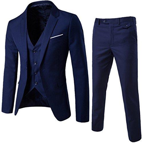 Navy Zwei-knopf-blazer-jacke (WEEN CHARMHerren Kerbe Revers Slim Fit 3-teilige Anzug Blazer Jacke Tux Vest & Hose Set)