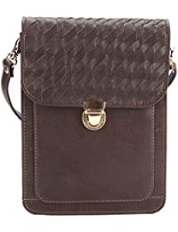 KOZA Women's Brown Leather Sling Bag | Small Single Strap | Shoulder Bags With Lock Encloser With Flap And Detachable...