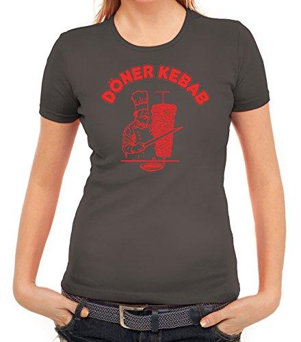 Damen T-Shirt mit Döner Kebab Motiv von ShirtStreet Dunkelgrau