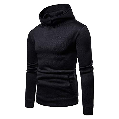 CuteRose Mens Big Pockets Big & Tall Regular-Fit Hoodie Classic Tshirt Black L Youth Zip-front Hoodie