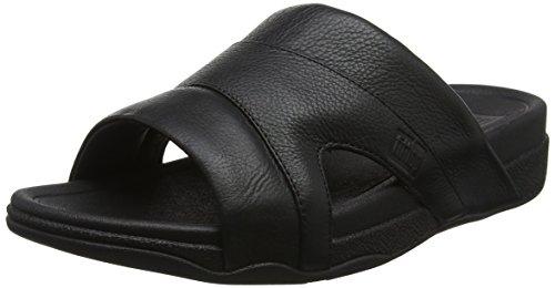 Fitflop freeway pool slide in leather, sandali punta aperta uomo, nero (black 001), 44 eu