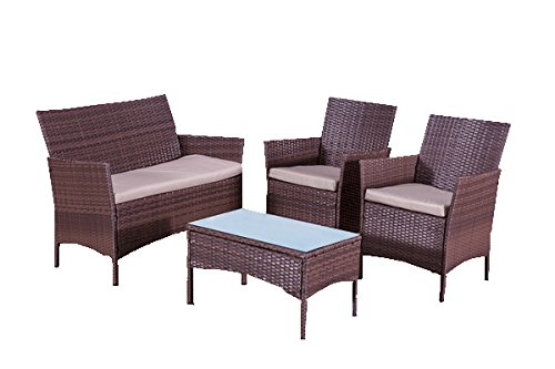 Rattan sofa garden furniture for Outdoor furniture amazon