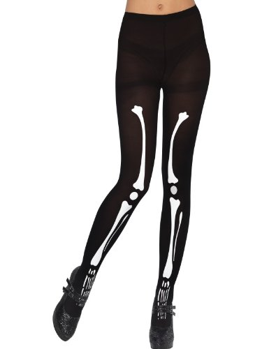 Einzigartige Girl Kostüme Halloween Ideen - Skeleton Tights, Black and White