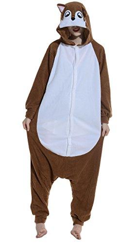 Fandecie Pigiama/costume onesie da adulti, tema: Chipmunk, unisex, ideale per Halloween/cosplay/dormire/, per altezze da 160 (Adulti Tuta)