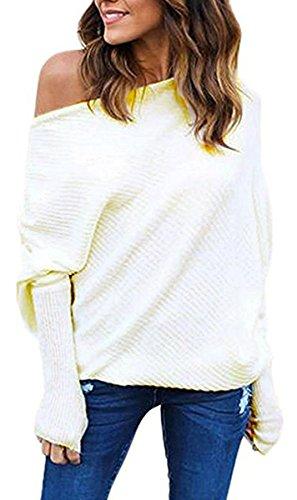Meyison Bat Sleeves Casual Knit Pullover Off Shoulder Tops Damen Weiss-M