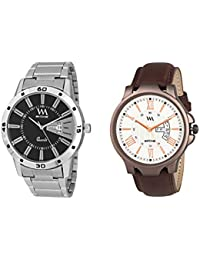 Watch Me Day And Date Watches For Mens Stylish Analog Watches Gift Combo Set Of 2 Watches For Men And Boys DDWM...