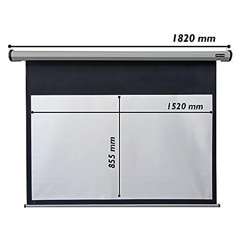 Cablematic - Motorisé écran de projection de métal mur gris argent noir 1520x855mm 16: 9 DisplayMATIC SILVE
