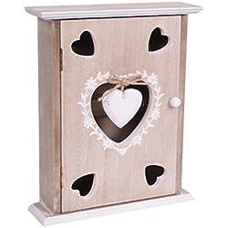 Shabby chic in legno chiave scatola porta chiavi con ganci a muro a forma di cuori in legno marrone