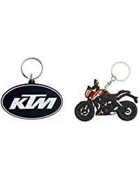 Techpro Rubber Keychain With Doublesided White KTM & KTM Bike Combo Pack