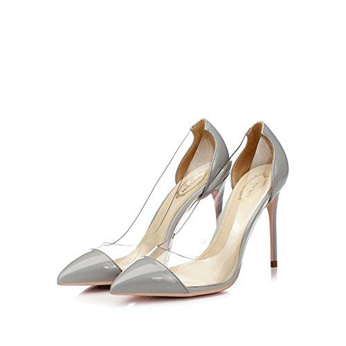 Chaussures à talons pointus avec lumière fine avec des chaussures de couleurs mélangées en plastique transparent