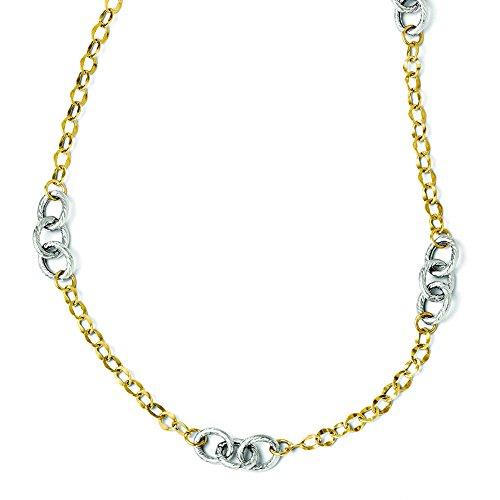 Preisvergleich Produktbild Leslies 14K Gelbgold bicolor poliert & Texturierte w/2in EXT. Halskette lf164–18