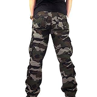 MäNner Sport Arbeits ZufäLlige Camo Hosen Workwear Arbeitshose Herren Outdoor Tactical Baumwolle Cargo Trousers Mit Vielen Taschen FüR Jagd Wandern Camping Cargohose Vintage(Army Grün,38)