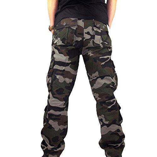 MäNner Sport Arbeits ZufäLlige Camo Hosen Workwear Arbeitshose Herren Outdoor Tactical Baumwolle Cargo Trousers Mit Vielen Taschen FüR Jagd Wandern Camping Cargohose Vintage(Army Grün,34)