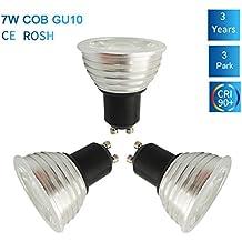 3unidades szmaya GU10bombillas LED, no regulable, aluminio material, 75W bombillas halógenas equivalente, 7W, 630LM, cálido blanco 3000K, 40degree Ángulo de haz, iluminación empotrable, iluminación de la pista [energía clase A + +, aluminio, Warm White ,Cool White ,Day White, GU10, 7.00 wattsW 220.00 voltsV