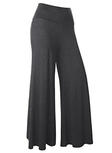 BAISHENGGT Damen Lange Stretch Slinky Lagenlook Hose im Marlene-Stil Anthrazit S (Grau Slinky)