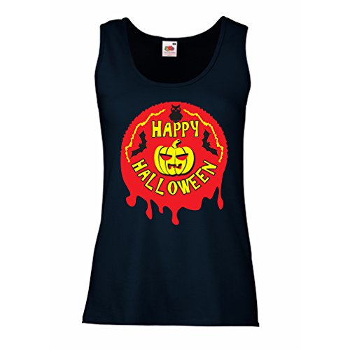 Damen Tank-Top Happy Halloween (Medium Blau (Minute Letzter Halloween In Kostüme)