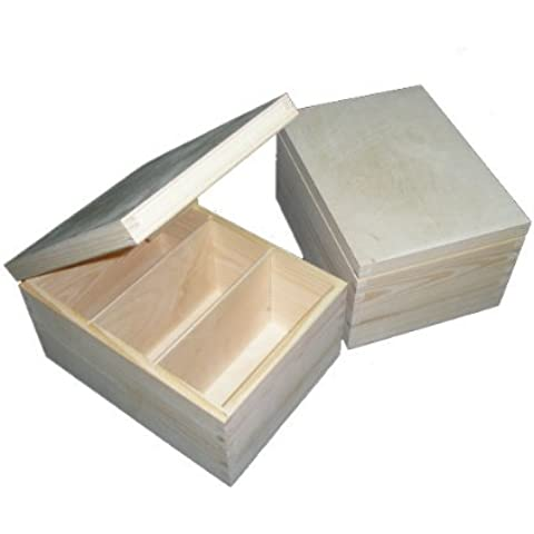 Madera Lisa - Caja Contenedor sin pintar de madera de CD / cartas / papeleo / recuerdos - Artesanía