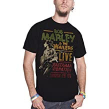 Bob Marley T Shirt Rastaman Vibration Tour 1976 Nue offiziell Herren Schwarz