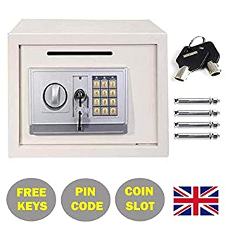 Elektronischer Sicherheits-Tresor, digitales Schloss, für Schmuck, Geldautomaten, Dokumenten-Tresor, mit Zifferntastatur und Überschreibungsschlüssel, 24,9 x 34,8 x 24,9 cm, Weiß
