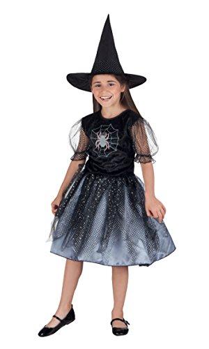 Girl Kostüm Spider Kind - Boland 78019 - Kinderkostüm Spinnenhexe, Größe 140, schwarz