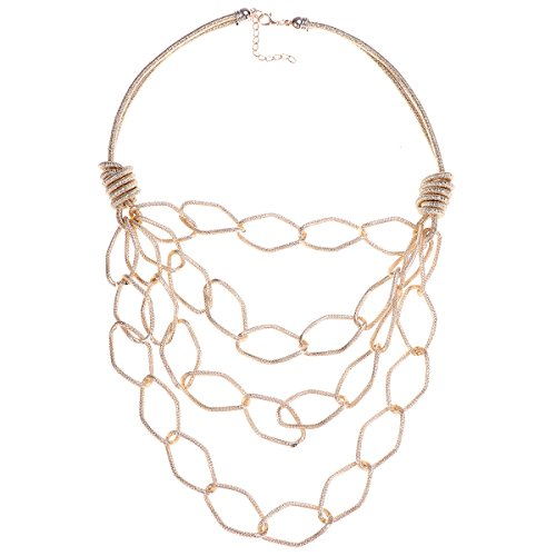 FENICAL Multilayer Chains Necklace Alloy Necklace Sweater Chain Chic Jewelry for Women Lady Girls (Golden)