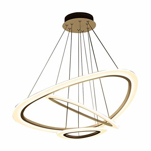 56 W Bague LED Blanc Design Suspension moderne 3 (Ø : 25 cm + 43 cm + 6 4 cm) rond table Suspension DIMM acrylique abat-jour Fer DIY modélisation Salon Bar réglable en hauteur Suspension Lampe