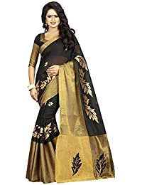 Fashionesta Women's Clothing Saree Collection In Multi-Coloured Black Cotton Material For Women Party Wear,Wedding...