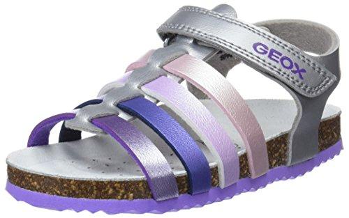 Geox Mädchen J New Aloha Girl C Peeptoe Sandalen, Silber (Silver/Lilac), 28 EU
