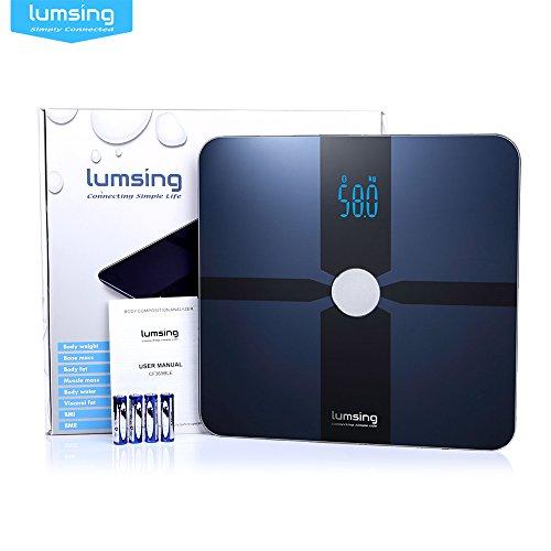 Body Fat Analyzer Scale (Lumsing Digitale Waage, Smart Body Analyzer, Bluetooth, mit kostenloser App für iOS, Android (dunkelblau))
