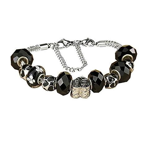 White Birch Cristal Swarovski Bijoux Femme Charm Bracelet Perles Pour Pandora pour les pour les Femme Filles Black