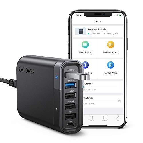 Ravpower caricabatterie filehub usb, con 6 porte caricatore da 60w pd qc 3.0, ismart porta multipla, fast charge per iphone, galaxy, trasferimento dati e backup per telefono e tablet