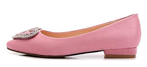 Aisun Damen Suede Herzen Strass Spitz Blockabsatz Loafers Slipper Pumps Pink  ...