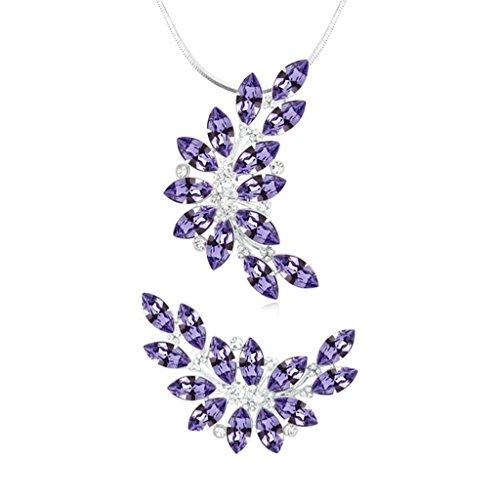 Aooaz Femmes Alliage Bijoux Parures Feuille Branche Cristal Broche Pendentif Collier Engagement Partie Tanzanite