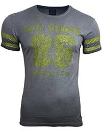 AVRONI Clubwear Kurzarm Herren Rundhals T-Shirt Washed Optik Shirt RN-16729, Größe:XL, Farbe:Anthrazit