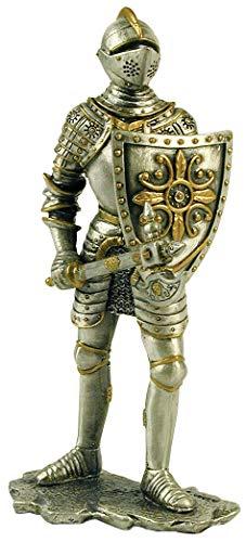 Deko Figur Ritter stehend mit Streitaxt und Schild (Zinn)