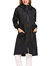 Parabler - Chaqueta de lluvia para mujer, impermeable, resistente al viento, chaqueta softshell, chaqueta para exterior, con capucha