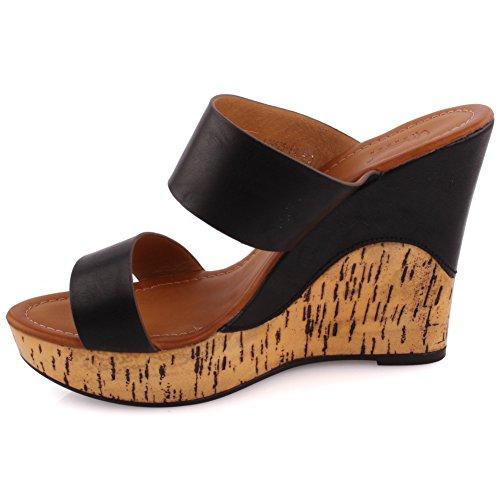 Unze 'Femmes' Nilla Partie se réunir Carnival Cork Wedge Sandals soir Chaussons UK Size 3-8 Noir