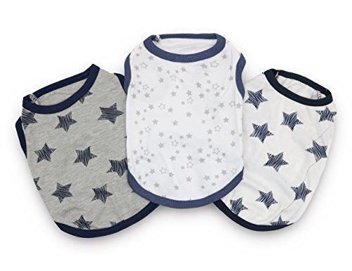 DroolingDog Perro de verano ropa de algodón pequeño perro camisas para perros pequeños, paquete de 3 large (8.8-13.2lb) multicolor