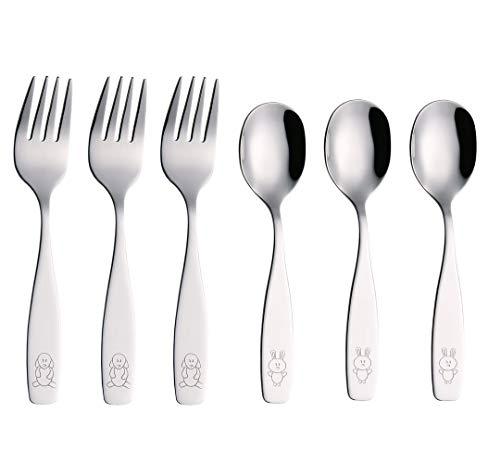 Exzact bambini posate 6 pezzi in acciaio inox/posate bimbi - 3 x forchetta, 3 x cucchiai cena (cane & coniglio x 6)