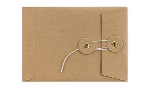 Umschläge C6, Kuvert mit Bindfadenverschluss, Kordel Umschlag braun, glatt, Kraftpapier, 10er Pack