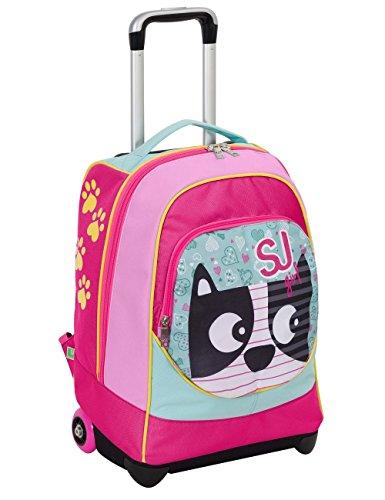 Trolley big - sj animals - rosa azzurro - 33 lt uso zaino - spallacci a scomparsa totale - scuola e viaggio