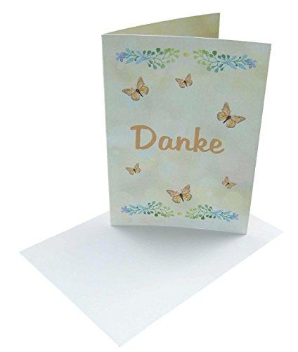Dankeskarten neutral in orange mit Schmetterlinge, weiße Umschläge und Klebeecken im Set: 12 mal Danke sagen. z.B. nach Geburtstag, Party, Feier, Hochzeit,