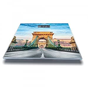 Banjado–Pèse-Personne Pèse-personne numérique 30cm x 30cm en verre avec motif pont à chaînes Budapest