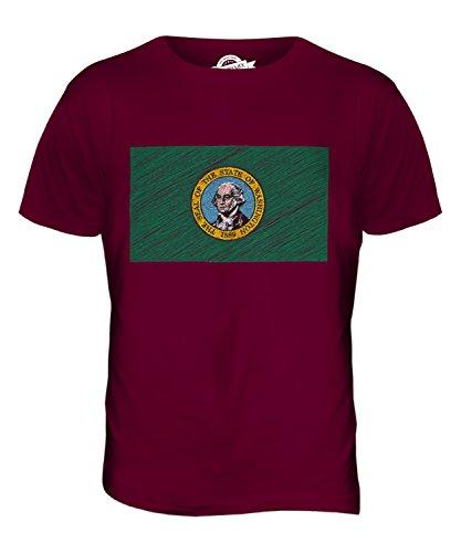 CandyMix Bundesstaat Washington Kritzelte Flagge Herren T Shirt Burgunderrot