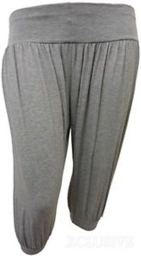 NOUVEAU FEMMES PLUS TAILLE 3/4 pantalon de harem recadrée ALI BABA PANTALON Light Grey